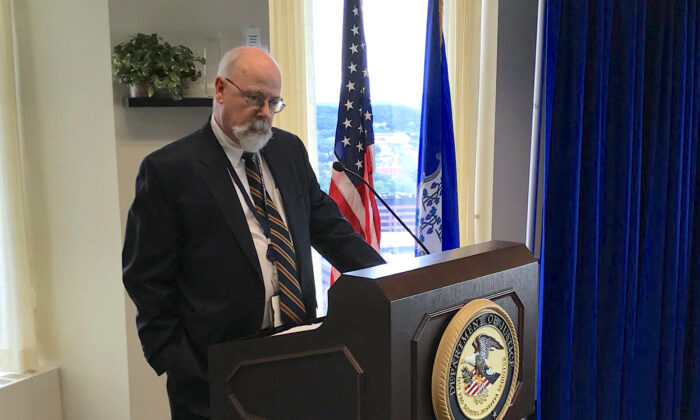 John Durham speaks at the Connecticut Securities, Commodities & Investor Fraud Working Group annual conference in New Haven, Connecticut, on Sept. 20, 2018. (Courtesy of the U.S. Attorney's Office for the District of Connecticut)