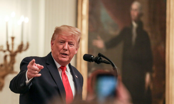 President Donald Trump in the White House in Washington on Jan. 24, 2020. (Charlotte Cuthbertson/The Epoch Times)