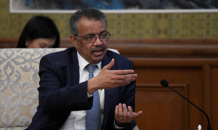 Tedros Adhanom Ghebreyesus, director general of the World Health Organization, speaks during a meeting with Chinese Foreign Minister Wang Yi at the Diaoyutai State Guesthouse in Beijing, China, on Jan. 28, 2020. (Naohiko Hatta/Pool via Reuters)