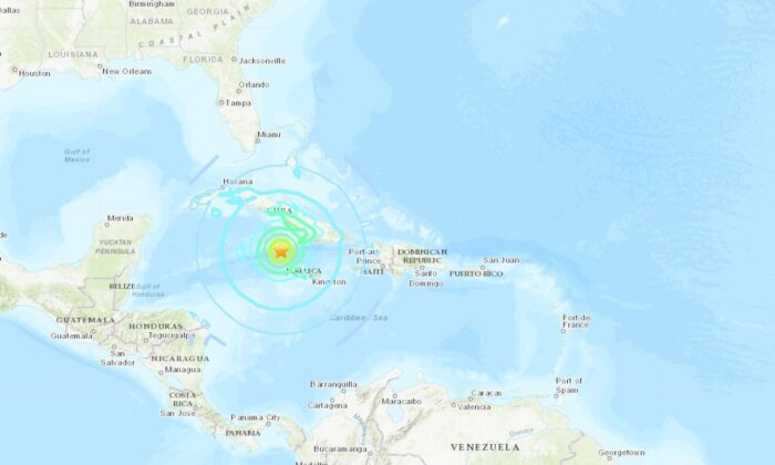A strong 7.7 magnitude earthquake struck between the island nations of Jamaica and Cuba on Tuesday (USGS)