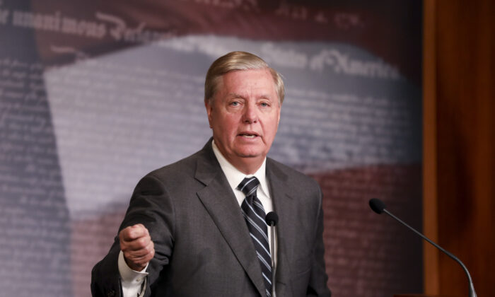 Sen. Lindsey Graham (R-S.C.) speaks at a press conference in Washington in an Oct. 24, 2019, file photograph. (Charlotte Cuthbertson/The Epoch Times)