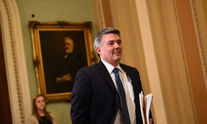 Sen. Cory Gardner (R-Colo.) walks outside the Senate chamber during a recess in the impeachment trial against President Donald Trump at the U.S. Capitol in Washington on Jan. 28, 2020. (Brendan Smialowski/AFP via Getty Images)