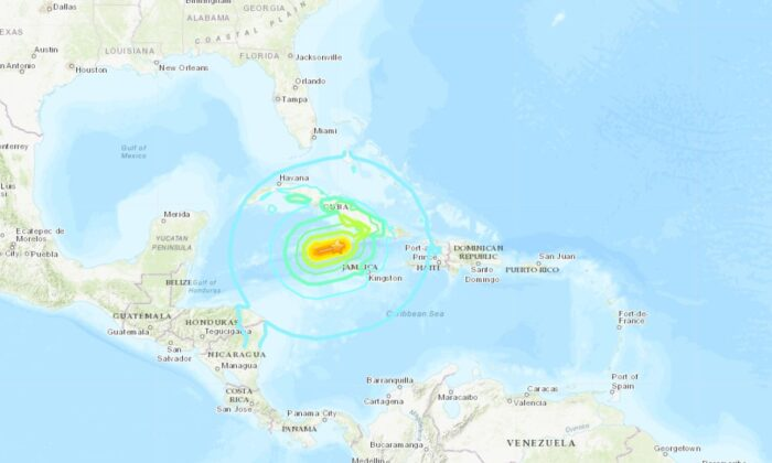 The U.S. Geological Survey (USGS) confirmed Tuesday's 7.7 magnitude earthquake that shook the Caribbean Sea near Jamaica and Cuba was felt in parts of Florida and Mexico. (USGS)