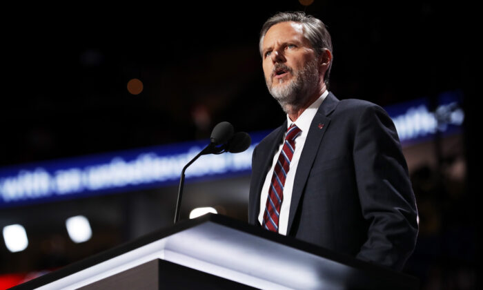 President of Liberty University, Jerry Falwell Jr. at the Quicken Loans Arena in Cleveland, Ohio,  on July 21, 2016. (Chip Somodevilla/Getty Images)