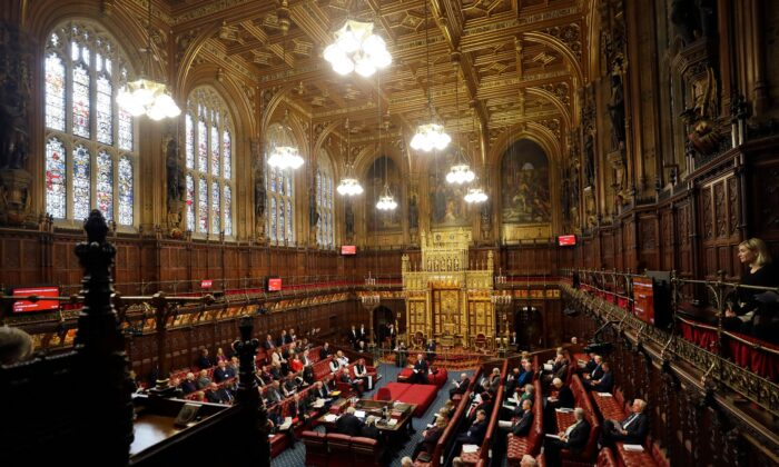 A view of the interior of the House of Lords as the European Withdrawal Agreement Bill is debated in London on Jan. 21, 2020. (Kirsty Wigglesworth / POOL / AFP via Getty Images)