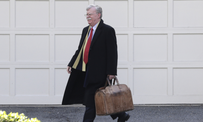 Former National Security Adviser John Bolton leaves his home in Bethesda, Md. on Jan. 28, 2020. (Luis M. Alvarez/AP Photo)