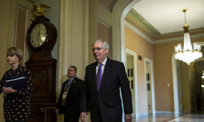 Senate Majority Leader Mitch McConnell (R-KY) walks through the Capitol Building during the Senate impeachment trial of President Donald Trump at the U.S. Capitol on January 29, 2020 in Washington, DC. In the next phase of the trial, senators will have the opportunity to submit written questions to the House managers and President Trump's defense team. (Photo by Zach Gibson/Getty Images)
