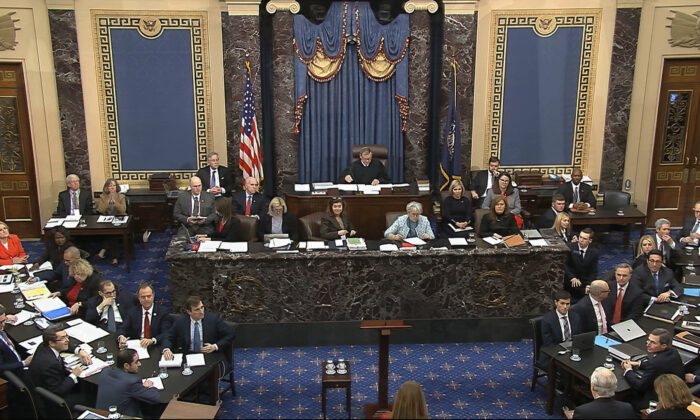In this image from video, the Senate chamber during the impeachment trial against President Donald Trump in the Senate at the Capitol in Washington on Jan. 28, 2020. (Senate Television via AP)