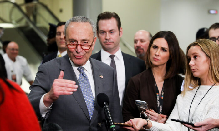 Senate Minority Leader Chuck Schumer (D-N.Y.) speaks to media at the Capitol in Washington on Jan. 27, 2020. (Charlotte Cuthbertson/The Epoch Times)