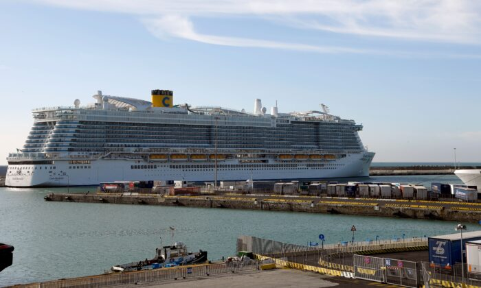 The Costa Smeralda cruise ship is docked in the Civitavecchia port north of Rome on Jan 30, 2020.  (FILIPPO MONTEFORTE/AFP via Getty Images)