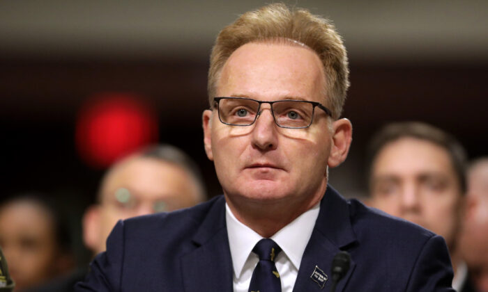 Acting Navy Secretary Thomas Modly testifies before the Senate Armed Services Committee in the Dirksen Senate Office Building on Capitol Hill in Washington on Dec. 3, 2019. (Chip Somodevilla/Getty Images)
