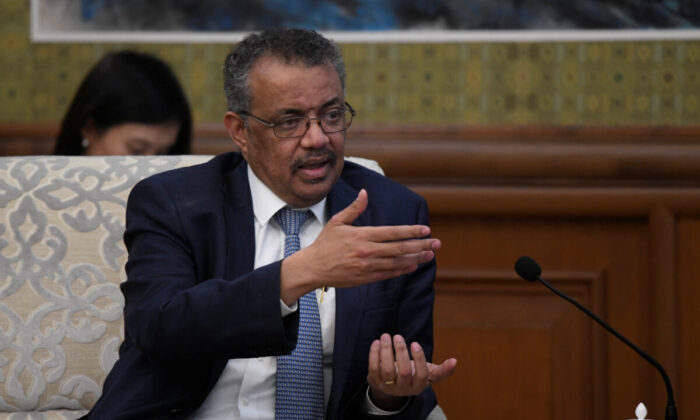 Dr. Tedros Adhanom, director general of the World Health Organization, speaks during a meeting with Chinese Foreign Minister Wang Yi at the Diaoyutai State Guesthouse in Beijing, China on Jan. 28, 2020. (Naohiko Hatta/Pool via Reuters)