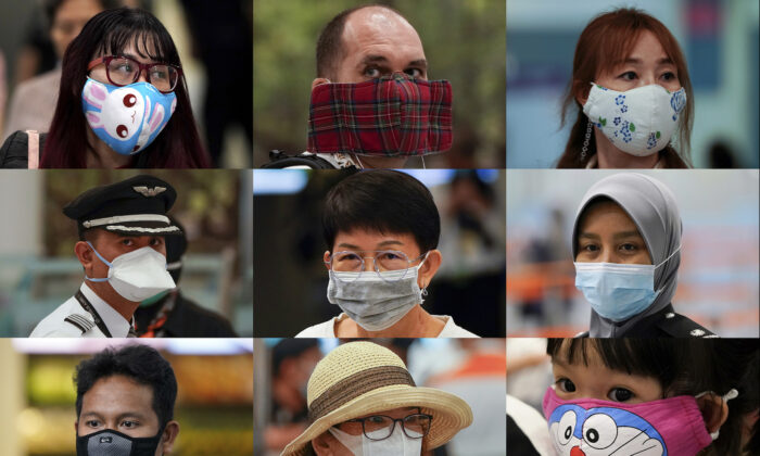 A combination of photos show people wearing various masks as they wait at an immigration counter at Kuala Lumpur Low Cost Terminal in Sepang, Malaysia on Jan. 29, 2020. Face masks are in short supply in parts of the world as people try to stop the spread of a new virus from China. Health officials recommend strap-on medical masks for people being evaluated for the new virus, their household members and caregivers. (Vincent Thian/AP)