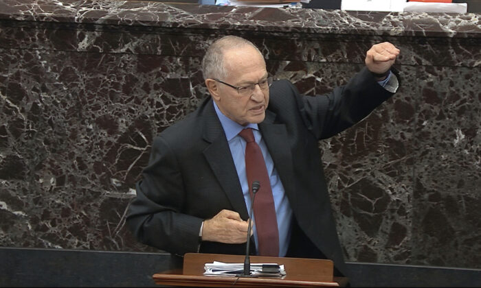 Alan Dershowitz, an attorney for President Donald Trump, answers a question during the impeachment trial against Trump in the Senate at the U.S. Capitol in Washington, Jan. 29, 2020. (Senate Television via AP)