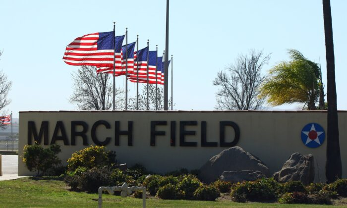 The entrance to March Air Reserve Base in Riverside, Calif. on Jan. 29, 2020. (Matt Hartman/AFP via Getty Images)