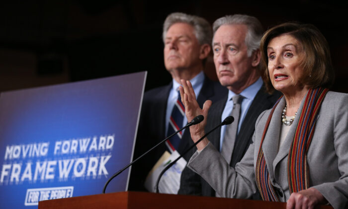 (R-L) Speaker of the House Nancy Pelosi (D-Calif.), Rep. Richard Neal (D-Mass.), and Rep. Frank Pallone (D-N.J.) hold a news conference unveiling House Democrats' new infrastructure framework at the U.S. Capitol in Washington on Jan. 29, 2020. (Mario Tama/Getty Images)