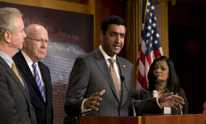 Rep. Ro Khanna (D-Calif.) speaks as other lawmakers listen in a press conference in Iran about a measure limiting President Donald Trump's ability to take military action against Iran, on Capitol Hill, in Washington on Jan. 9, 2020. (Jose Luis Magana/AP Photo)