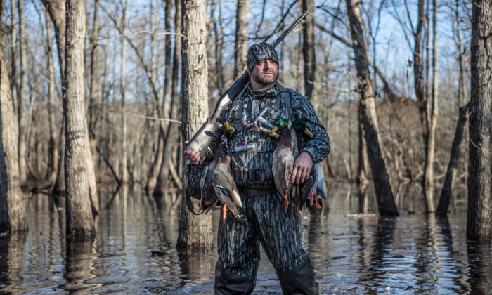 Chad Belding during a duck hunt. (Tom Rassuchine/The Fowl Life)
