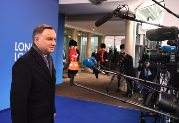 President of Poland, Andzej Duda arrives for the NATO summit at the Grove Hotel on December 4, 2019 in Watford, England (Chris J Ratcliffe/Getty Images)