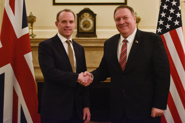 UK Foreign Secretary Dominic Raab meets U.S. Secretary of State Mike Pompeo at the Foreign Secretary's Residence on January 29, 2020 in London, England. (Peter Summers/Getty Images)
