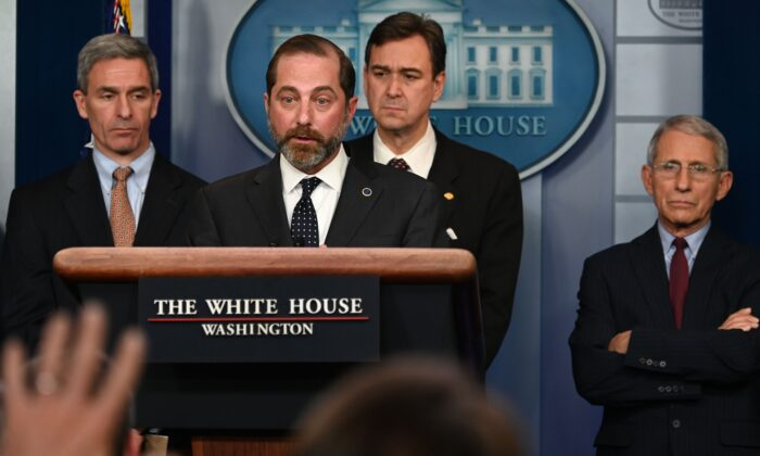 Secretary of Health and Human Services Alex Azar takes questions during a briefing with members of the president's Coronavirus Task Force in Washington, on Jan. 31, 2020. (Andrew Caballero-Reynolds/AFP via Getty Images)