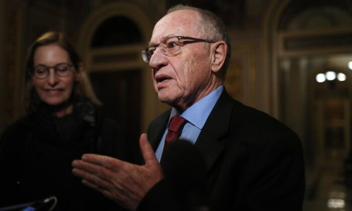 Attorney Alan Dershowitz, then-member of President Donald Trump's legal team, speaks to the press in the Senate Reception Room during the Senate impeachment trial at the Capitol in Washington on Jan. 29, 2020. (Mario Tama/Getty Images)