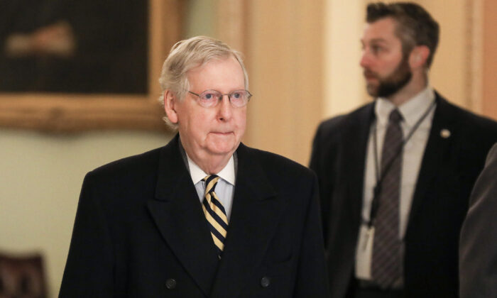Senate Majority Leader Sen. Mitch McConnell (R-Ky..) arrives at the Capitol for the impeachment trial of President Donald Trump, in Washington on Jan. 27, 2020. (Charlotte Cuthbertson/The Epoch Times)