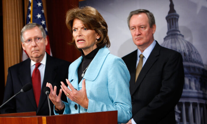 Sen. Lisa Murkowski (R-Alaska) speaks during a news conference on Capitol Hill in Washington on Jan. 12, 2010. (Alex Wong/Getty Images)