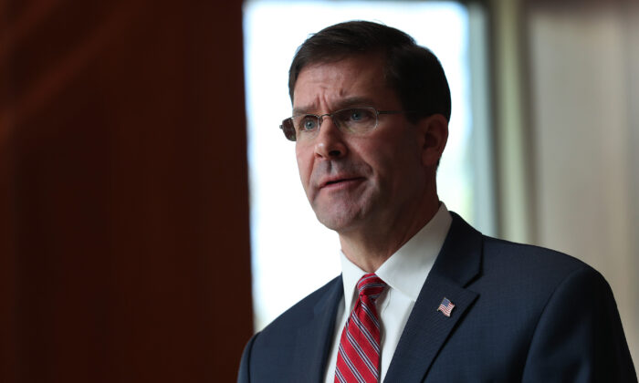 U.S. Secretary of Defense Mark Esper addresses the media at U.S. Southern Command in Doral, Florida on Jan. 23, 2020. (Joe Raedle/Getty Images)