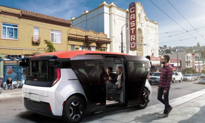 General Motor's Cruise Origin ride-share fully autonomous vehicle in San Francisco. (Image: General Motors Inc.)