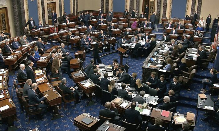Senators cast their vote on the motion to allow additional witnesses and evidence to be allowed in the impeachment trial against President Donald Trump in the Senate at the U.S. Capitol in Washington, on Jan. 31, 2020. The motion failed with a vote of 51-49. (Senate Television via AP)