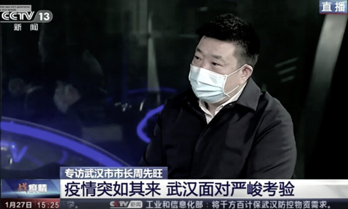 Wuhan City mayor Zhou Xianwang during an interview on China's state broadcaster CCTV that aired on Jan. 27, 2020. Wuhan is the epicenter of the coronavirus outbreak.(Screenshot via Reuters)