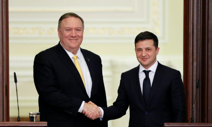 Secretary of State Mike Pompeo and Ukraine's President Volodymyr Zelensky shake hands after a joint news conference in Kyiv, Ukraine on Jan. 31, 2020. (Gleb Garanich/Reuters)