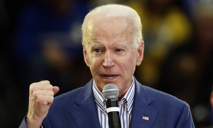Democratic presidential candidate former Vice President Joe Biden speaks at a campaign event at Saint Augustine's University in Raleigh, N.C., on Feb. 29, 2020. (AP Photo/Gerry Broome)