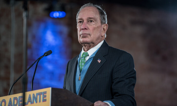 Democratic presidential candidate former New York City Mayor Mike Bloomberg announces his new Latino policy El Paso Adelante (the path forward) at a campaign rally in El Paso, Texas, on Jan. 29, 2020. (Cengiz Yar/Getty Images)