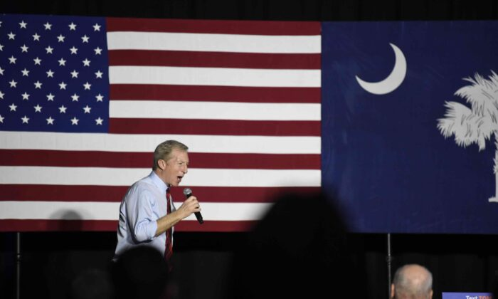 Democrat Tom Steyer addresses the crowd at his election-eve rally the night before the South Carolina presidential primary in Columbia, S.C., on Feb. 28, 2020. (AP Photo/Meg Kinnard)