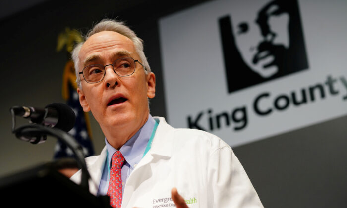 Dr. Frank Riedo, Medical Director of Infection Control at EvergreenHealth Hospital speaks about the first patient death from novel coronavirus in the United States during a news conference in Seattle, W.A., on Feb. 29, 2020.  (Ryan Henriksen/Reuters)