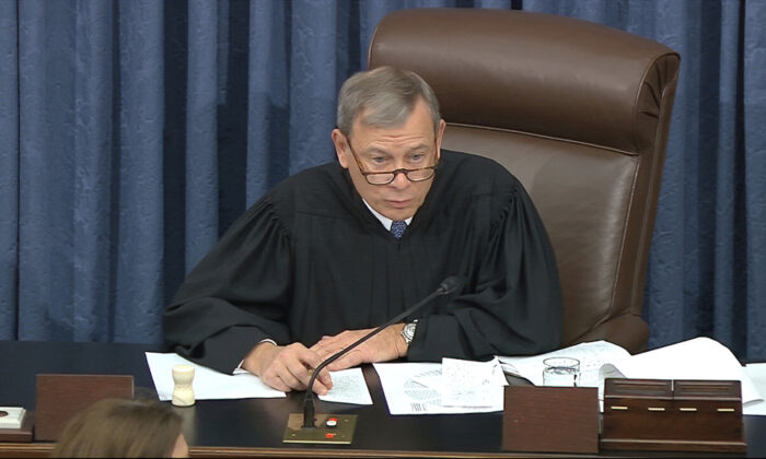 Supreme Court Chief Justice John Roberts calls for the vote on the motion to allow additional witnesses in the impeachment trial against President Donald Trump in the Senate at the U.S. Capitol in Washington on Jan. 31, 2020. (Senate Television via AP)