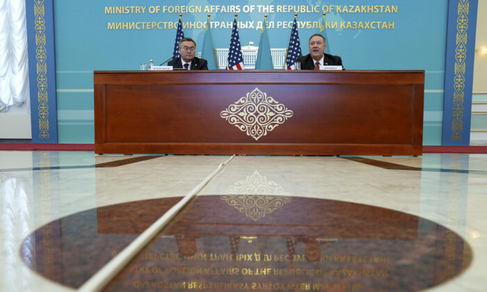 U.S. Secretary of State Mike Pompeo, right, holds a joint news conference with Kazakh Foreign Minister Mukhtar Tleuberdi at the Ministry of Foreign Affairs in Nur-Sultan, Kazakhstan, on Feb. 2, 2020. (Kevin Lamarque/Pool Photo via AP)