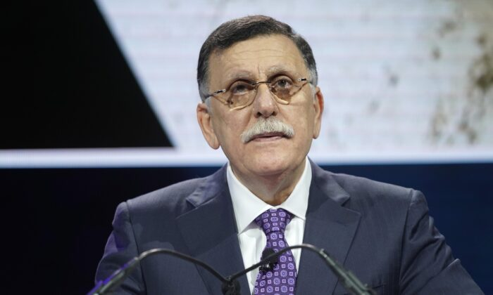 Fayez al-Sarraj, Prime Minister of Government of National Accord of Libya, speaks onstage during the 2019 Concordia Annual Summit at Grand Hyatt New York in New York City on Sept. 23, 2019.  Riccardo Savi/Getty Images for Concordia Summit