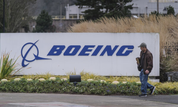 A worker leaves the Boeing 737 factory