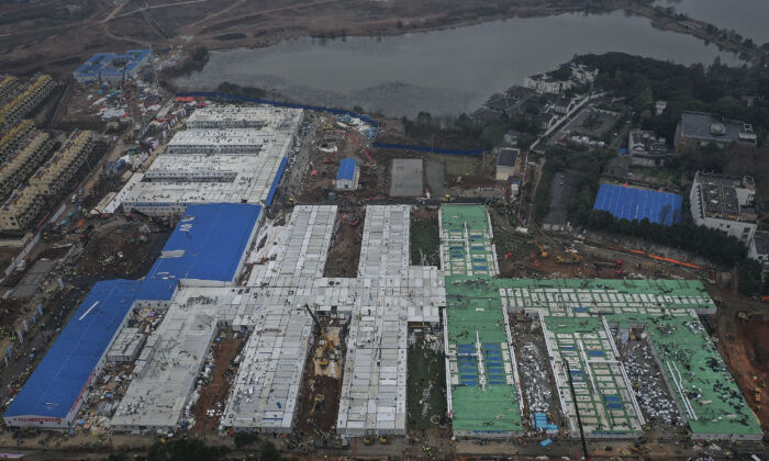 Huoshenshan Hospital construction nears completion in Wuhan, China on Feb. 2, 2020. (Stringer/Getty Images)