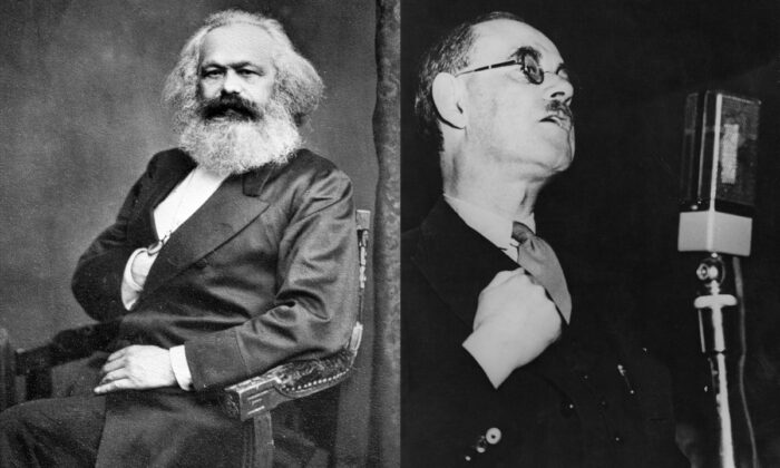 (Left) A portrait of Karl Marx, circa 1875. (International Institute of Social History via Wikimedia Commons) (Right) British political theorist Harold Laski, a leading Fabian socialist, circa 1940. (Keystone/Hulton Archive/Getty Images)