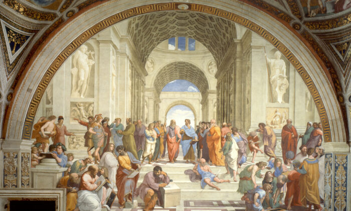 """The School of Athens"" fresco by Renaissance artist Raphael depicting the Platonic Academy, a famous school in ancient Athens founded by the philosopher Plato in the early 4th century B.C. In the centre are Plato and Aristotle, in discussion. (Public Domain)"