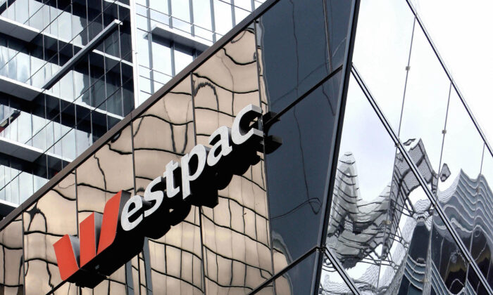 Westpac Bank signage is displayed on a building in this photo taken in Sydney, Australia, on 13 July 2006. (Greg Wood/AFP via Getty Images)