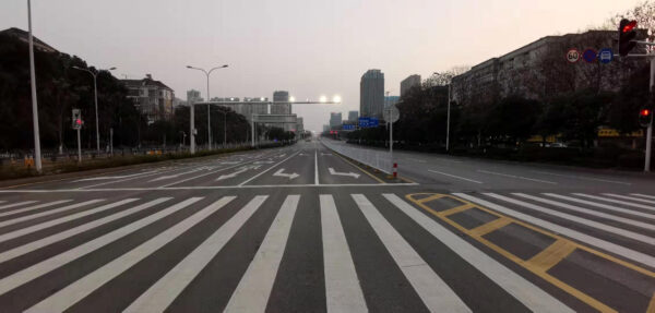 General view of empty roads in Wuhan City