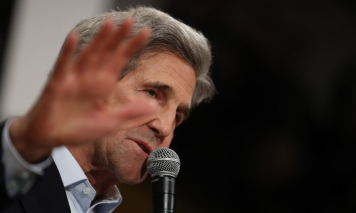 Former Secretary of State John Kerry speaks during a campaign event for Democratic presidential candidate former Vice President Joe Biden in Cedar Rapids, Iowa on Feb. 1, 2020.  (Justin Sullivan/Getty Images)