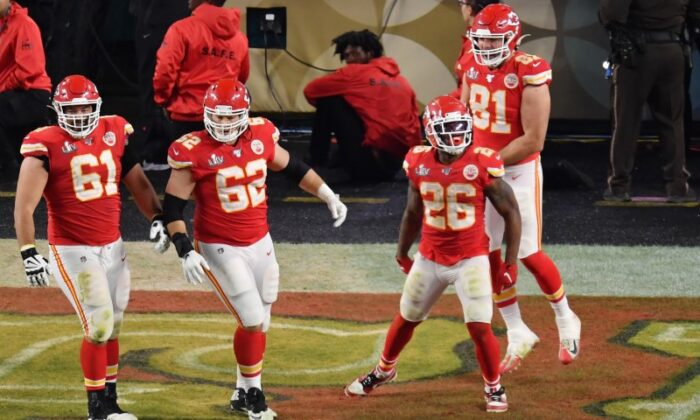 Kansas City Chiefs running back Damien Williams (26) celebrates with teammates after scoring a touchdown against the San Francisco 49ers in the fourth quarter in Super Bowl LIV at Hard Rock Stadium. (Steve Mitchell-USA TODAY Sports)