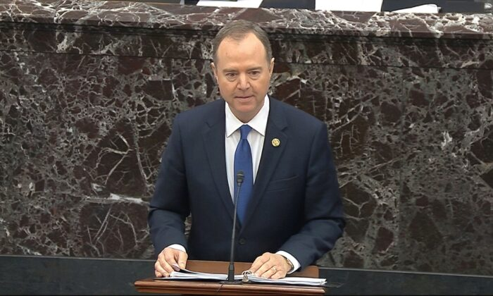 House impeachment manager Rep. Adam Schiff (D-Calif.) speaks during closing arguments in the impeachment trial against President Donald Trump in the Senate at the U.S. Capitol in Washington, on Feb. 3, 2020. (Senate Television via AP)