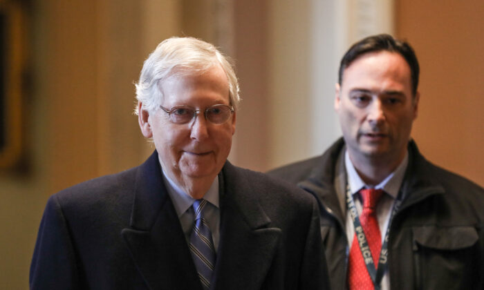 Senate Majority Leader Sen. Mitch McConnell (R-Ky.) arrives at the Capitol at the beginning of the 10th day of the impeachment trial of President Donald Trump at the Capitol in Washington on Jan. 31, 2020. (Charlotte Cuthbertson/The Epoch Times)